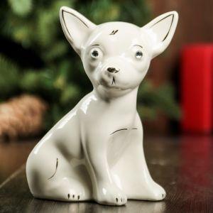 """Сувенир """"Собака Чихуахуа"""", белый, 14 см, керамика"""