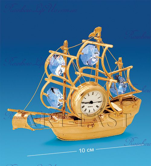 "Часы - фигурка Корабль с камнями ""Swarovski"""
