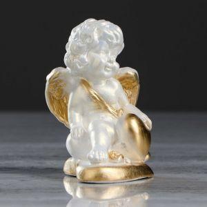 """Статуэтка """"Ангел на сердечке 3"""" перламутровая, с золотом, 10 см"""