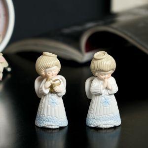 """Сувенир полистоун лак """"Ангелочек в небесно-голубом платье молится/с сердцем""""МИКС 6,5х4х3см   3281203"""
