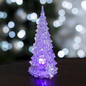 "Игрушка световая ""Ёлочка"" (батарейки в комплекте) 12 см, 1 LED, RGB, прозрачная 535492"