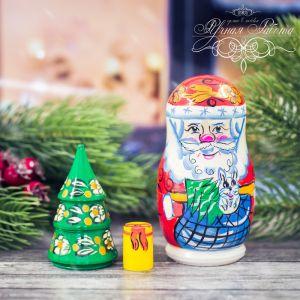 Матрёшка 3-х кукольная «Дед Мороз с ёлкой»