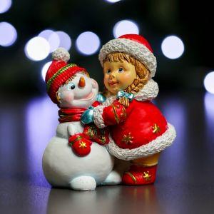 """Фигура """"Девочка и снеговик"""" красный 5х8х9см   3864997"""