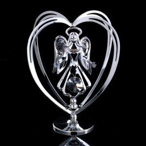 """Сувенир с кристаллами Сваровски """"Ангел-хранитель"""" хром 10,2х7,8 см   4266200"""