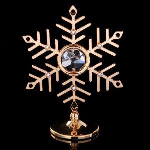 """Сувенир с кристаллами Сваровски """"Снежинка"""" золото 7,9х6,3 см   4266176"""