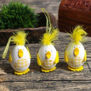 """Декор пасхальный подвеска """"Яйцо - цыплёнок"""" набор 3 шт 6,5х4,5х4 см   4559968"""