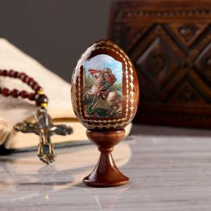 """Сувенир Яйцо на подставке икона """"Георгий победоносец"""""""
