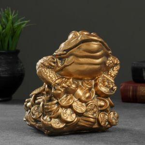 "Фигура ""Лягушка на монетах"" малая 14х14х15см   1235890"