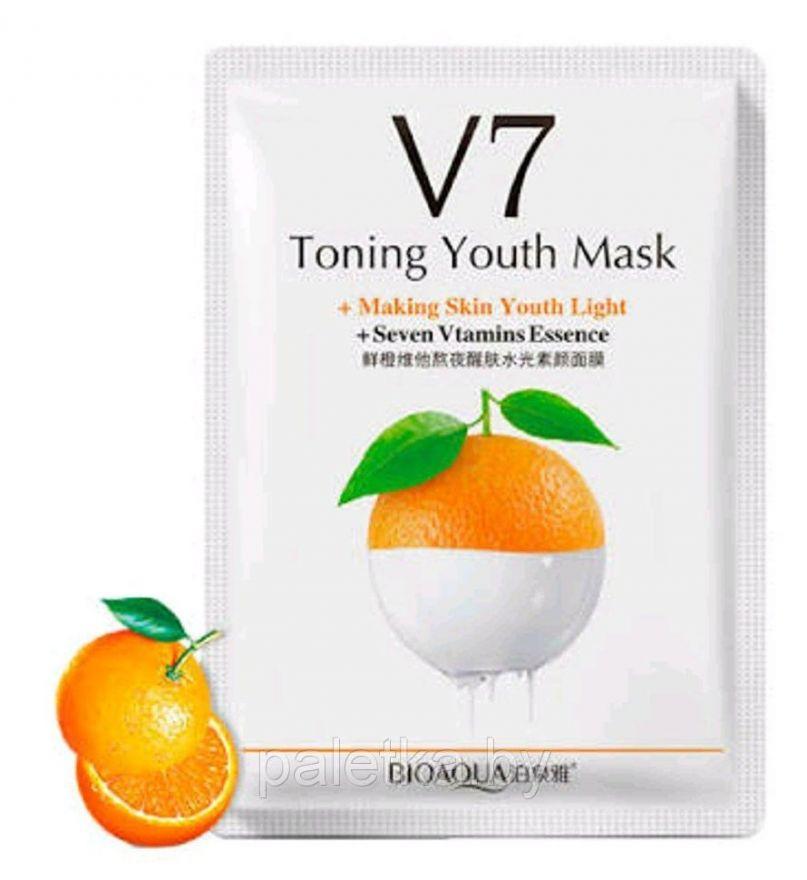 Увлажняющая маска BioAqua V7 Toning Youth Mask,Апельсин