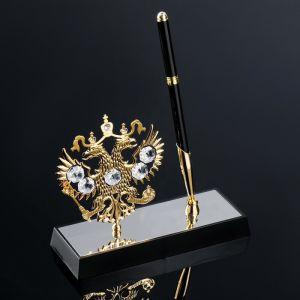 Ручка на подставке «Герб России», 16?6?20 см, с кристаллами Сваровски 2394113