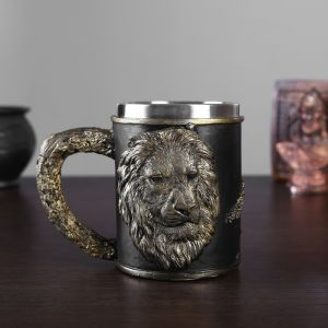 Кружка «Лев», 15х10х11,5см, 500 мл, нерж.сталь,искусственный камень 4831758