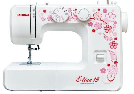 Швейная машина JANOME E- LINE 15   /  цена 8900 руб.! (цена в рассрочку на 6 месяцев, 7 взносов - 11150 руб. по 1600 руб. в месяц)