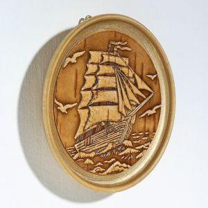 Декоративная тарелка «Корабль», D=10 см, береста   4416859
