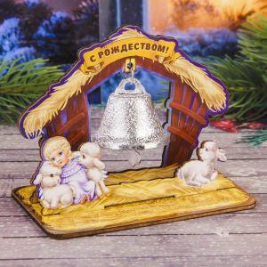 Колокольчик в деревянной рамке «Вертеп»