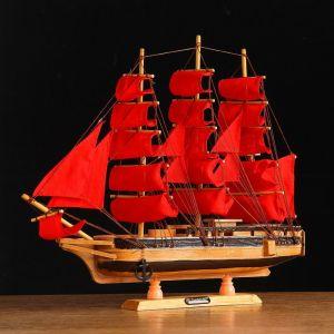 Корабль сувенирный средний «Ахиллес», паруса красные, 39х44х7 см 1154016