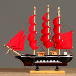 Корабль сувенирный средний «Флора», борта чёрные с белой полосой, паруса алые, 32х6,5х31 см 452035