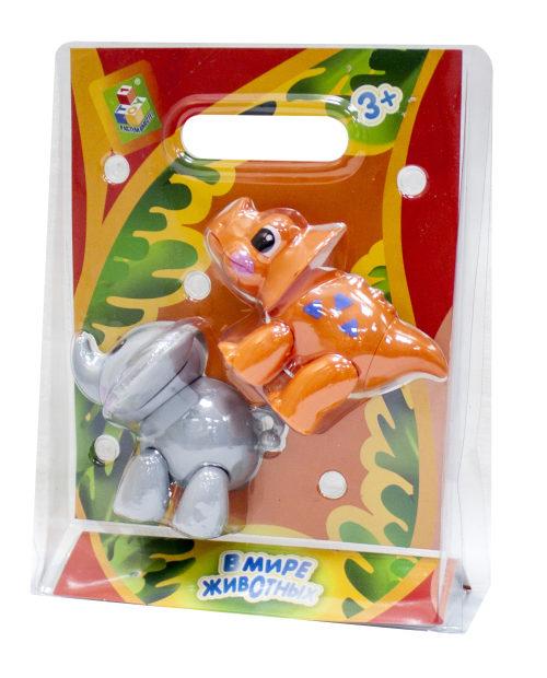 """1toy """"В мире животных""""  игровой набор из 2 шт (слон и носорог / динозавр),  2 вида в ас-те, блистер"""