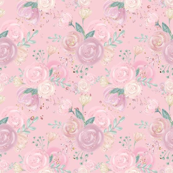 Хлопок Перкаль Уютные цветы на розовом 50х37