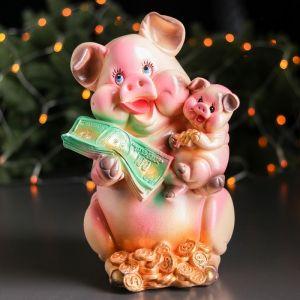 "Копилка ""Свинка Мама"", глянец, бежевый цвет, 29 см"