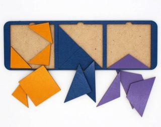 Рамка вкладыш Собери квадрат 3 фигуры, 28х10 см, Уровень 2, в асс-те