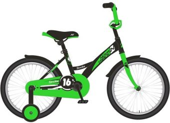 "Велосипед NOVATRACK 12"" STRIKE, чёрный-зелёный, тормоз нож., корот.крылья"