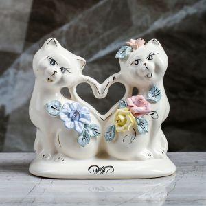"""Копилка """"Коты сердце"""", глянец, белый цвет, 14 см"""