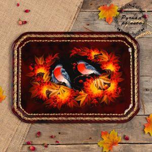 Поднос «Птицы», бордовый фон, 45х32 см, ручная роспись 3601382