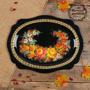 Поднос «Цветы», чёрный фон, 46х35 см, ручная роспись   3601379