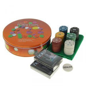 Покер, набор для игры (карты 2 колоды, фишки 120 шт с/номин.,сукно 40х60 см) микс 427372