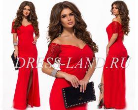 Красное вечернее платье с разрезом