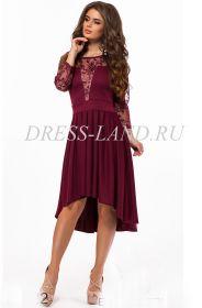 Бордовое нарядное платье