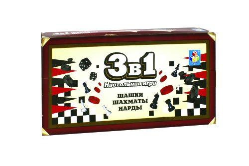 1toy Игра настольная 3в1 шашки, шахматы, нарды. магнитные 13,5х7,5х2см