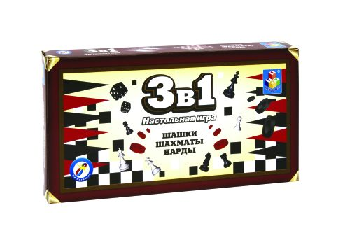 1toy Игра настольная 3в1 Шашки/шахматы/нарды на магните 25х13,2х3,5см