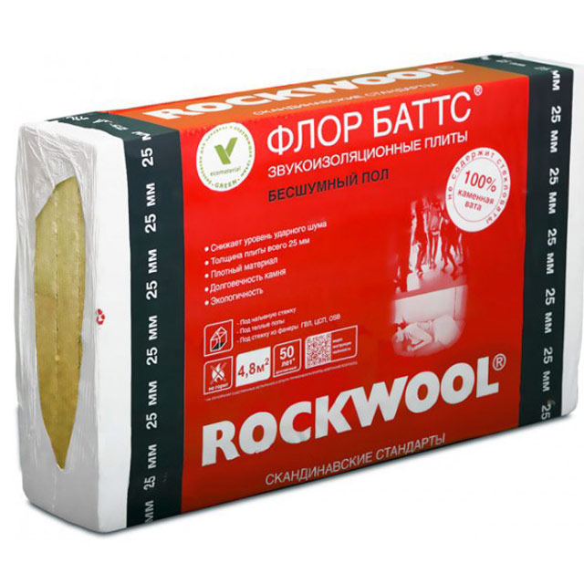 Утеплитель Rockwool Флор Баттс И 1000*600*100мм, 1.20м2, 0.120м3 (125 кг/м3)
