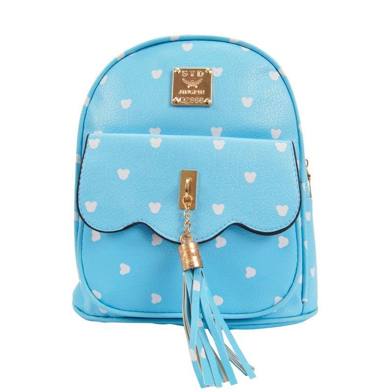 Рюкзак женский с кисточкой голубой