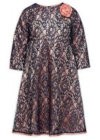 GWDJ4094/2 Платье нарядное для девочки розовое с синим гипюром Пеликан