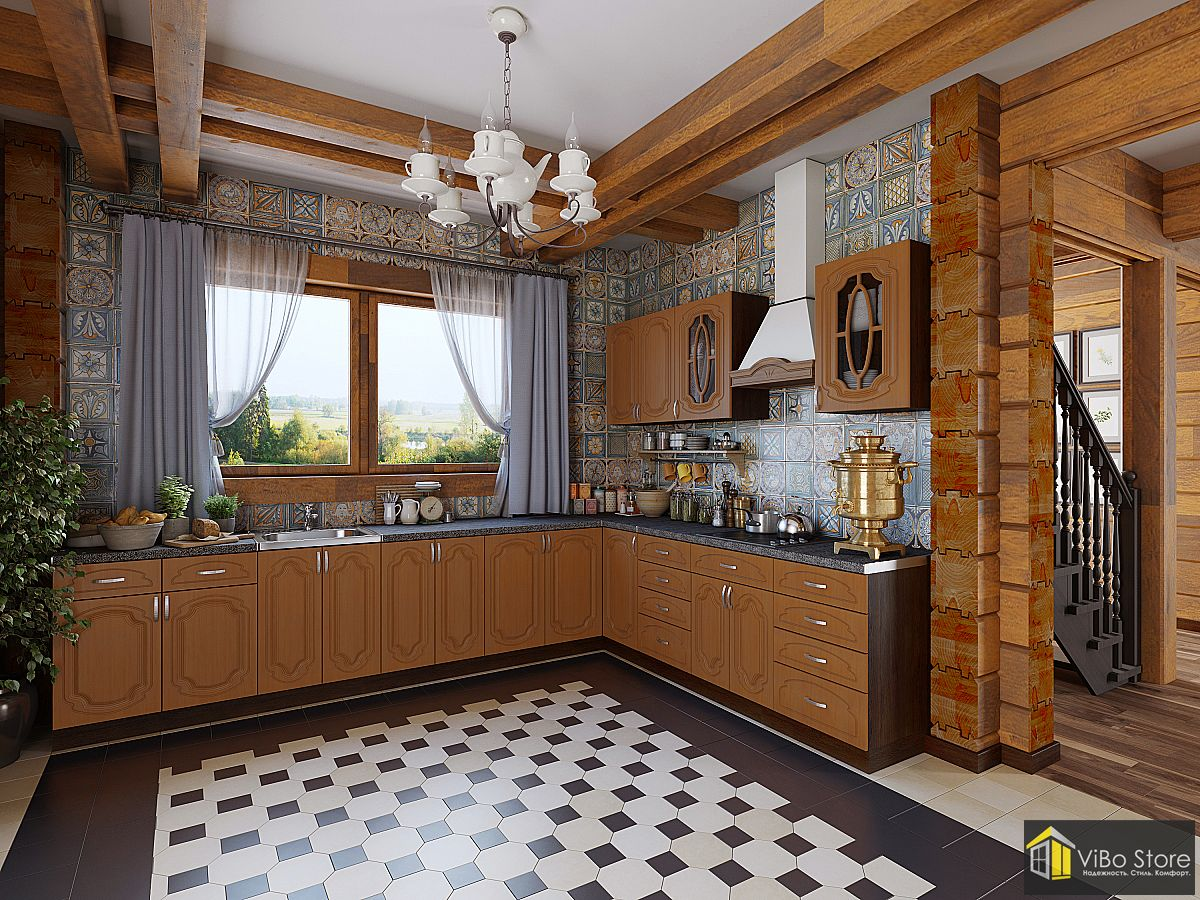 Настя-02. Угловая кухня итальняский орех