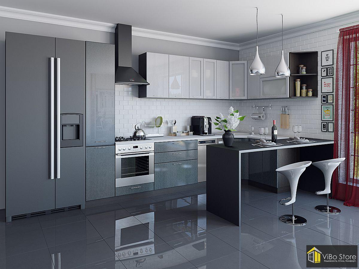Валерия-М-05 21704. Кухня хай-тек с фасадом серый металлик