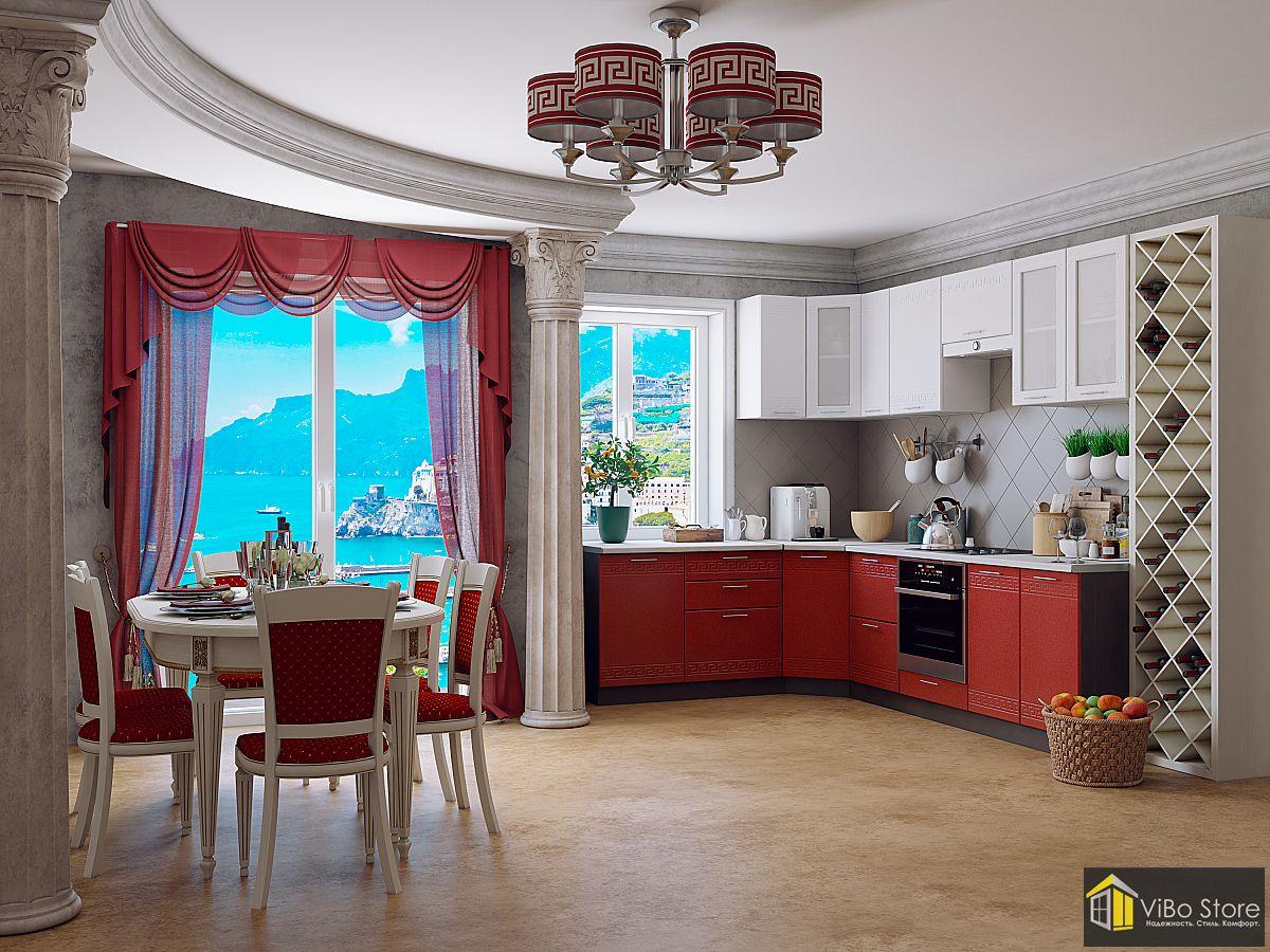 Греция-02 21772. Современная кухня гранатового цвета