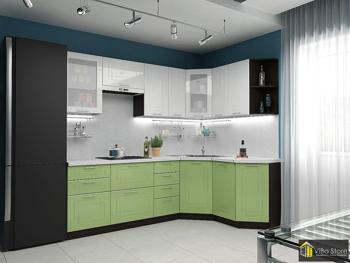 Вега-02 21778. Современная кухня с салатовым фасадом