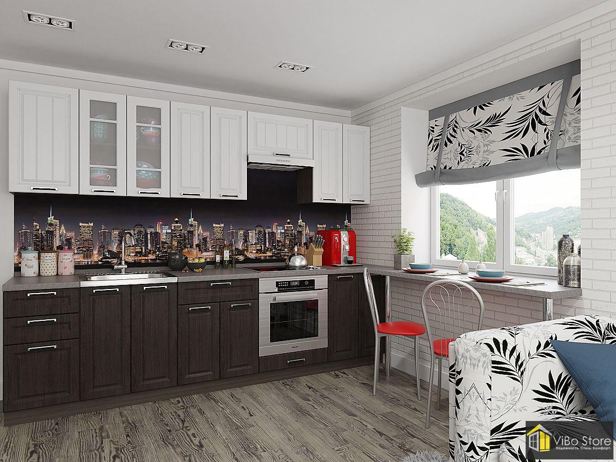 Кухня в современном стиле с серой столешницей