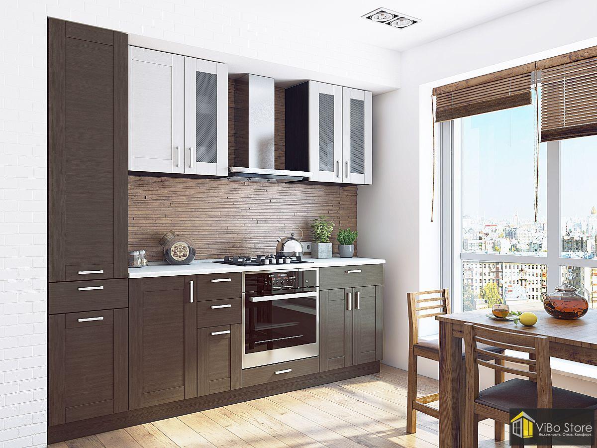 Прямая кухня в коричневом стиле из МДФ