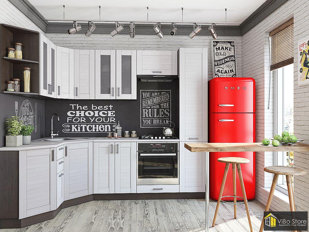 Современная черно-белая шпанированная кухня