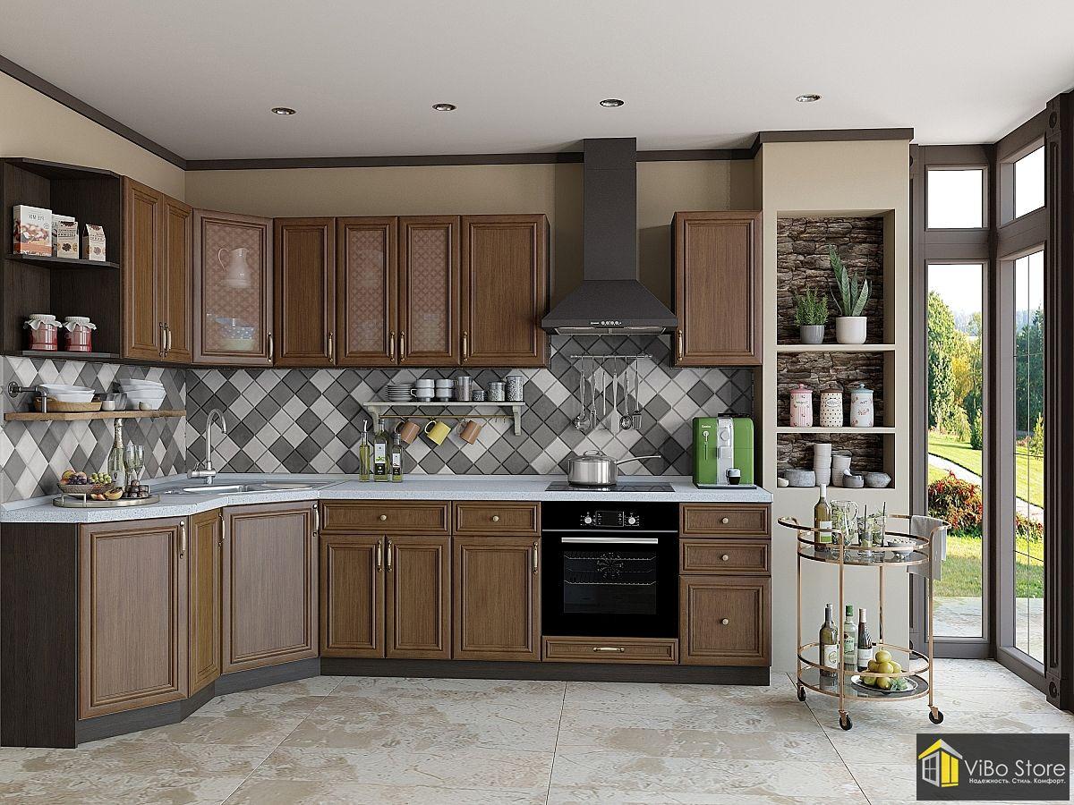 Недорогая кухня с классическим фасадом венге, материал экошпон