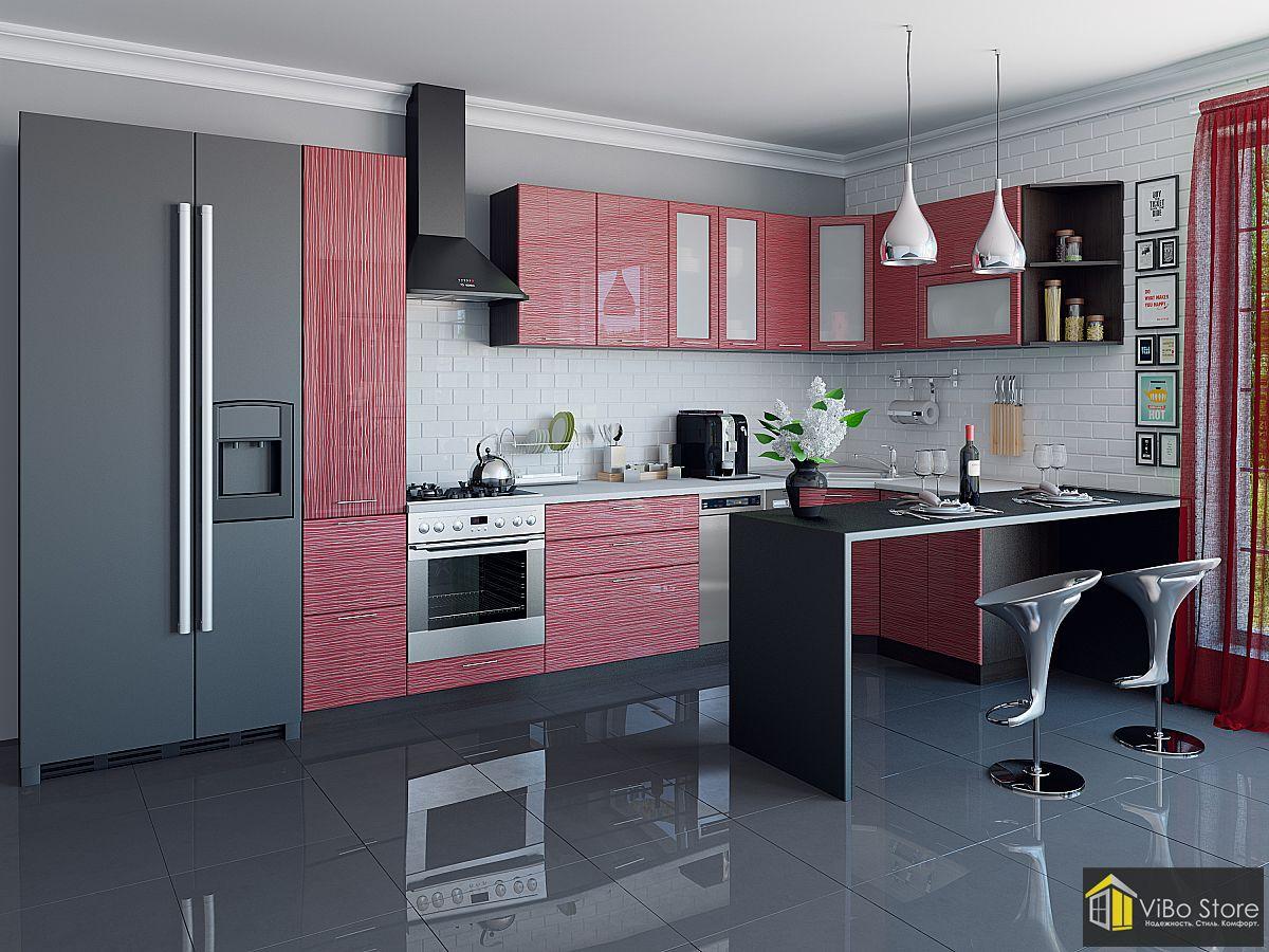 Угловая современная кухня 12 кв. м красный глянец