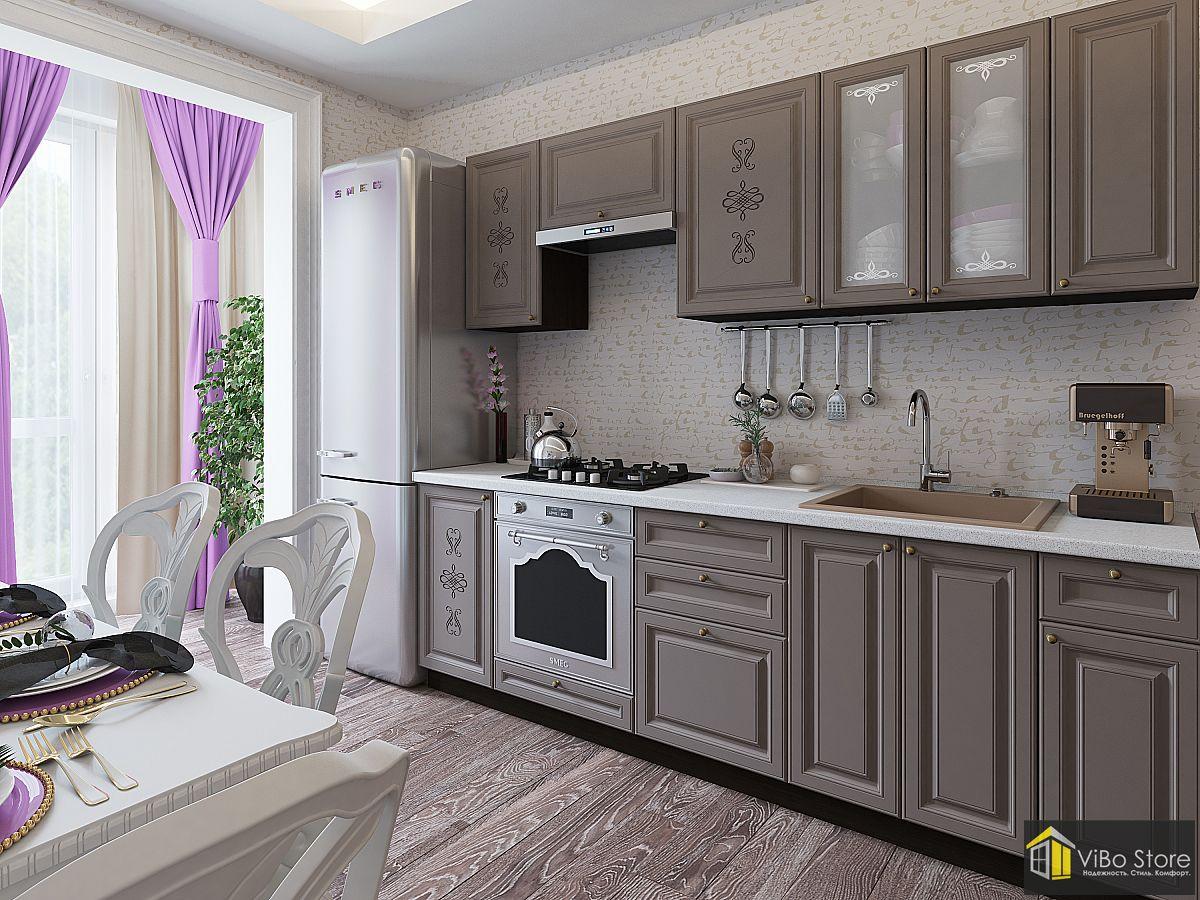 Прямая классическая кухня серого цвета