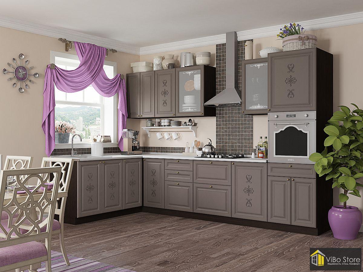 Классическая угловая кухня серого цвета
