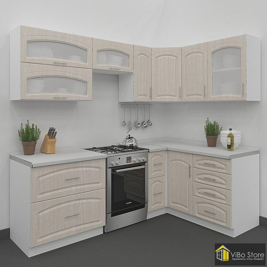 Небольшая кухня с фасадом беленый дуб