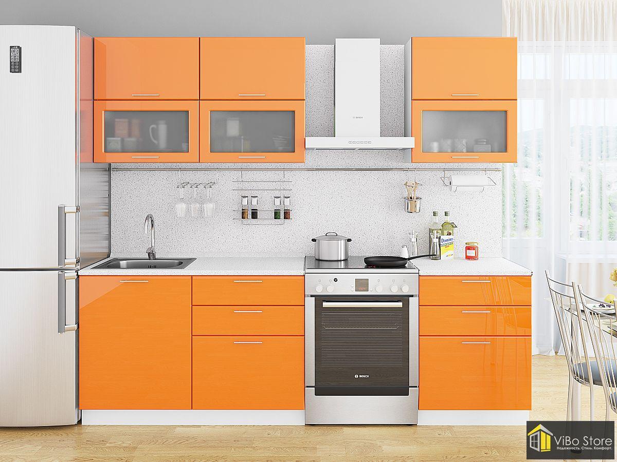 Стильная недорогая оранжевая кухня