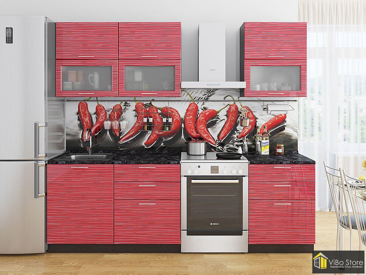 Яркая, современная кухня красный глянец страйп